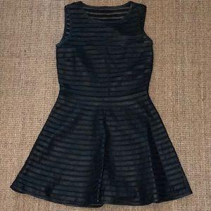 Parker black leather cocktail dress